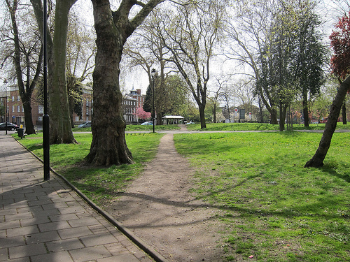 Photo from the path on the north side of Tottenham Green, viewing south-east towards the High Road.